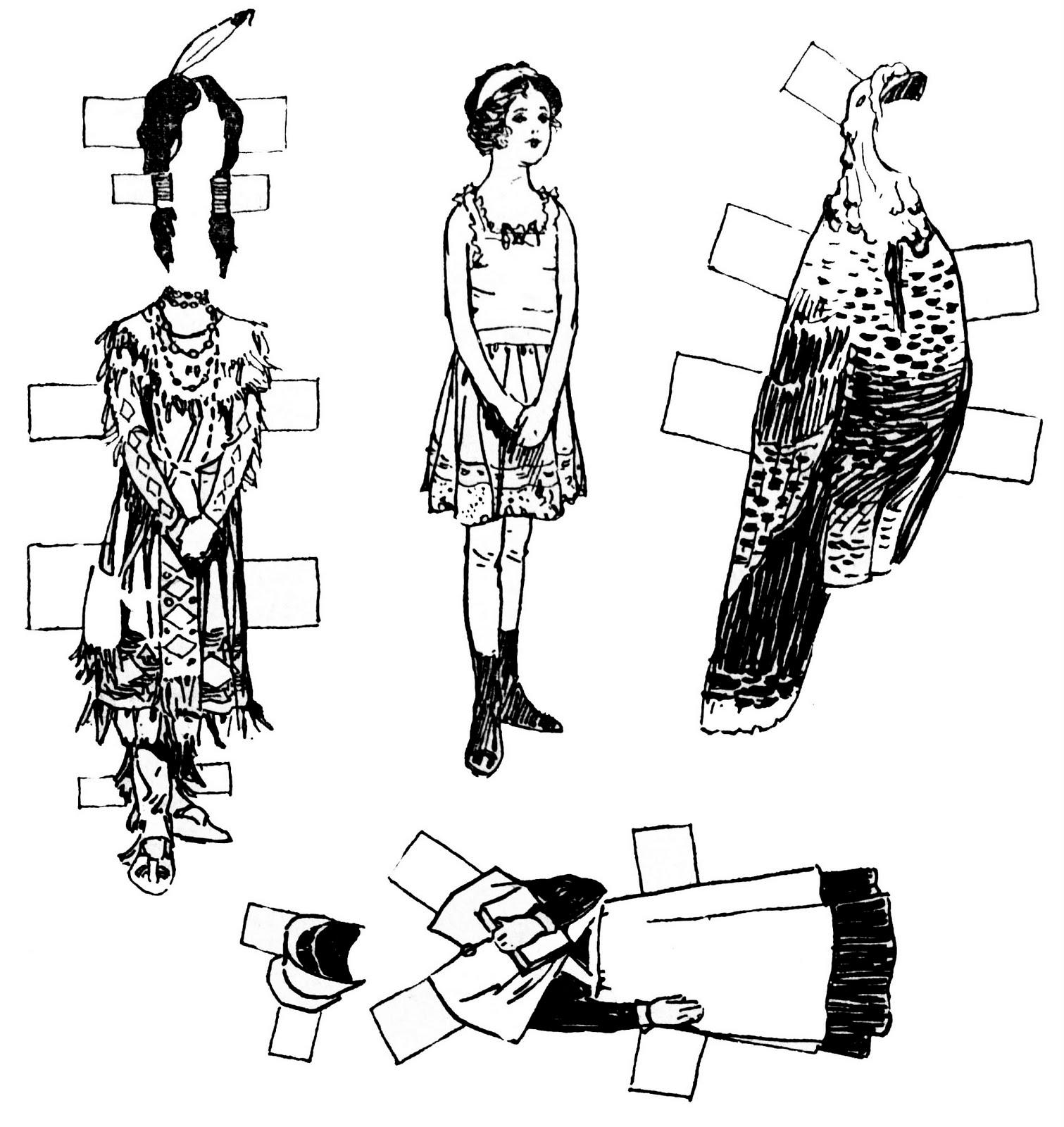 Vintage Kids Printable - Thanksgiving Paper Dolls - Cut And Color - Printable Paper Dolls To Color Free