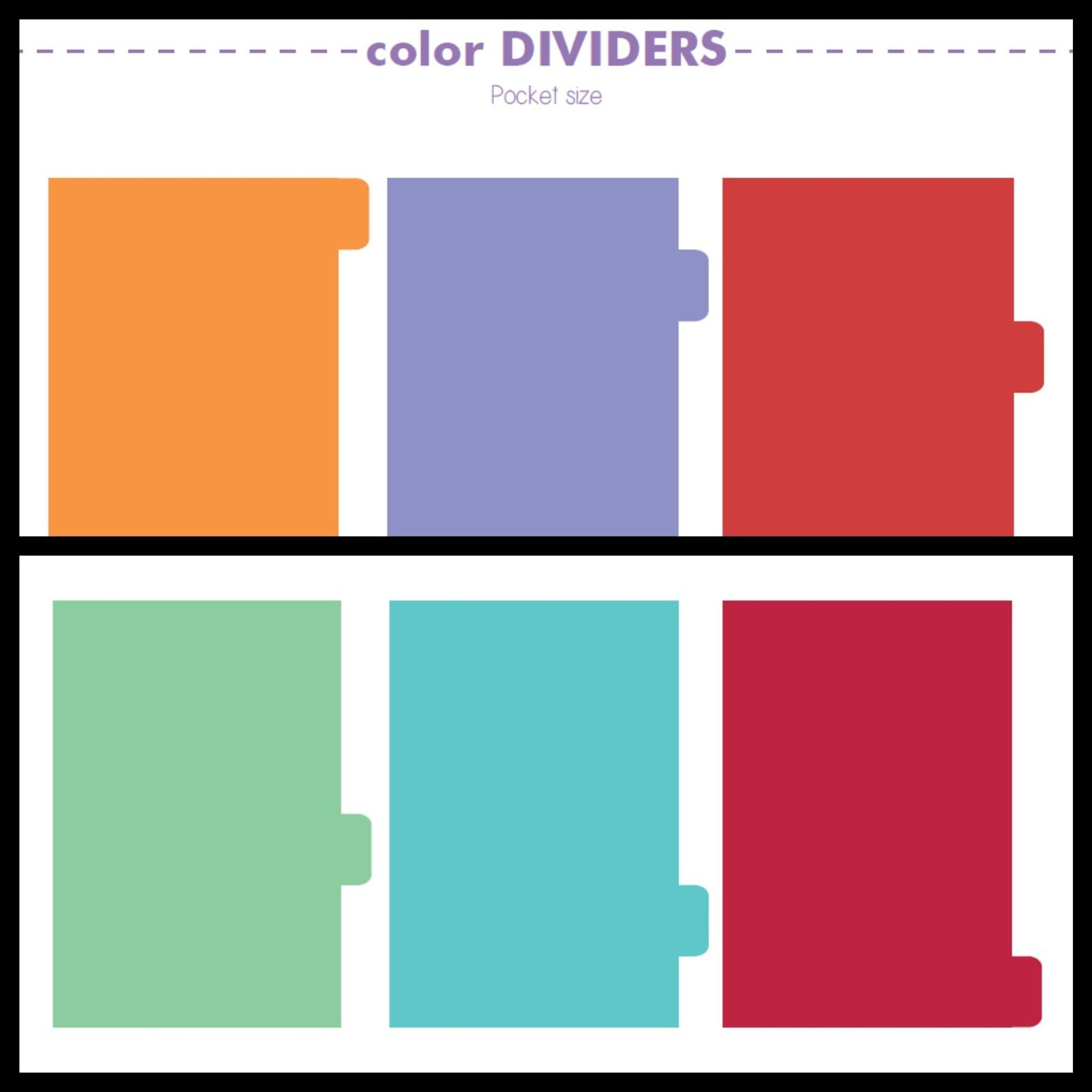 Violet-Archive: Free Printables: Plain Dividers (Personal + Pocket - Free Printable Dividers