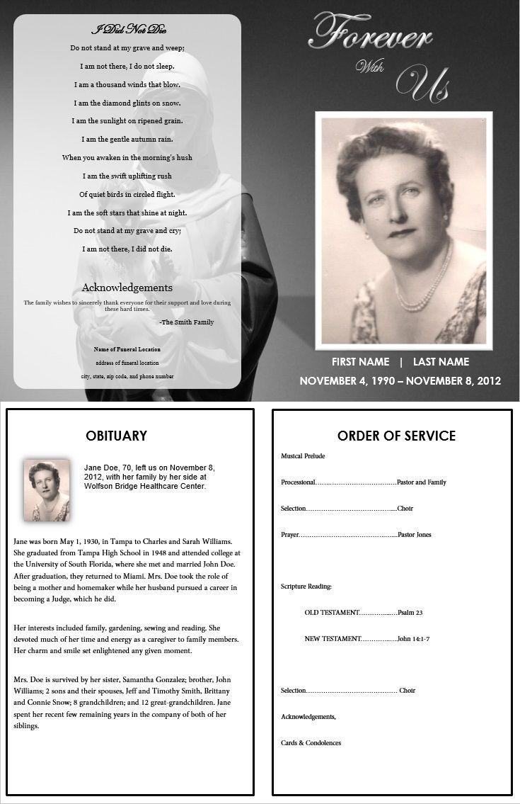 Virgin Mary Memorial Program | Funeral | Pinterest | Funeral Program - Free Printable Funeral Program Template