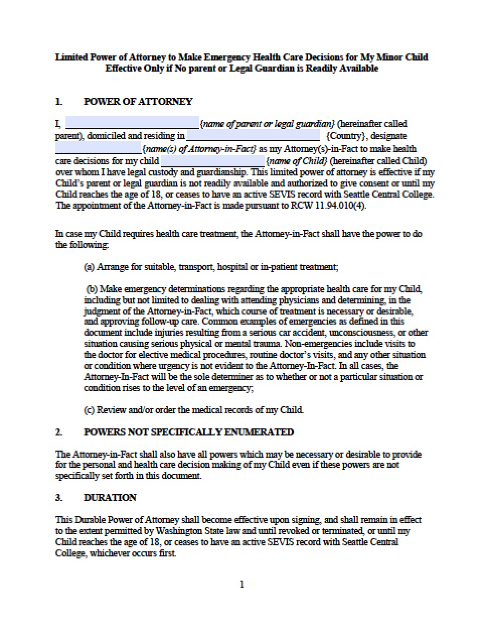 Washington Minor Child Power Of Attorney Form - Power Of Attorney - Free Printable Power Of Attorney Form Washington State