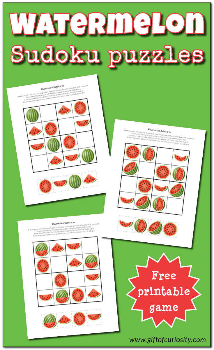 Watermelon Sudoku Puzzles {Free Printables} - Gift Of Curiosity - Download Printable Sudoku Puzzles Free