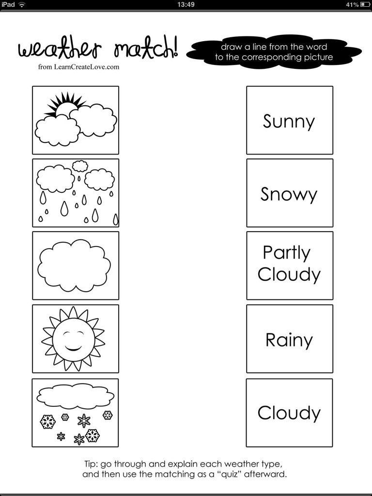 Weather Word And Picture Match | Pre-School | Preschool Weather - Free Printable Seasons Worksheets For Kindergarten