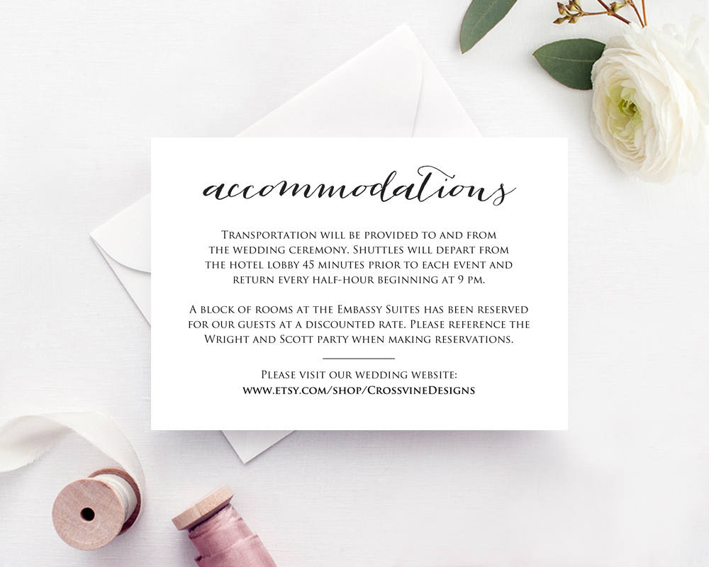 Wedding Accommodations Card Insert · Wedding Templates And Printables - Free Printable Wedding Inserts