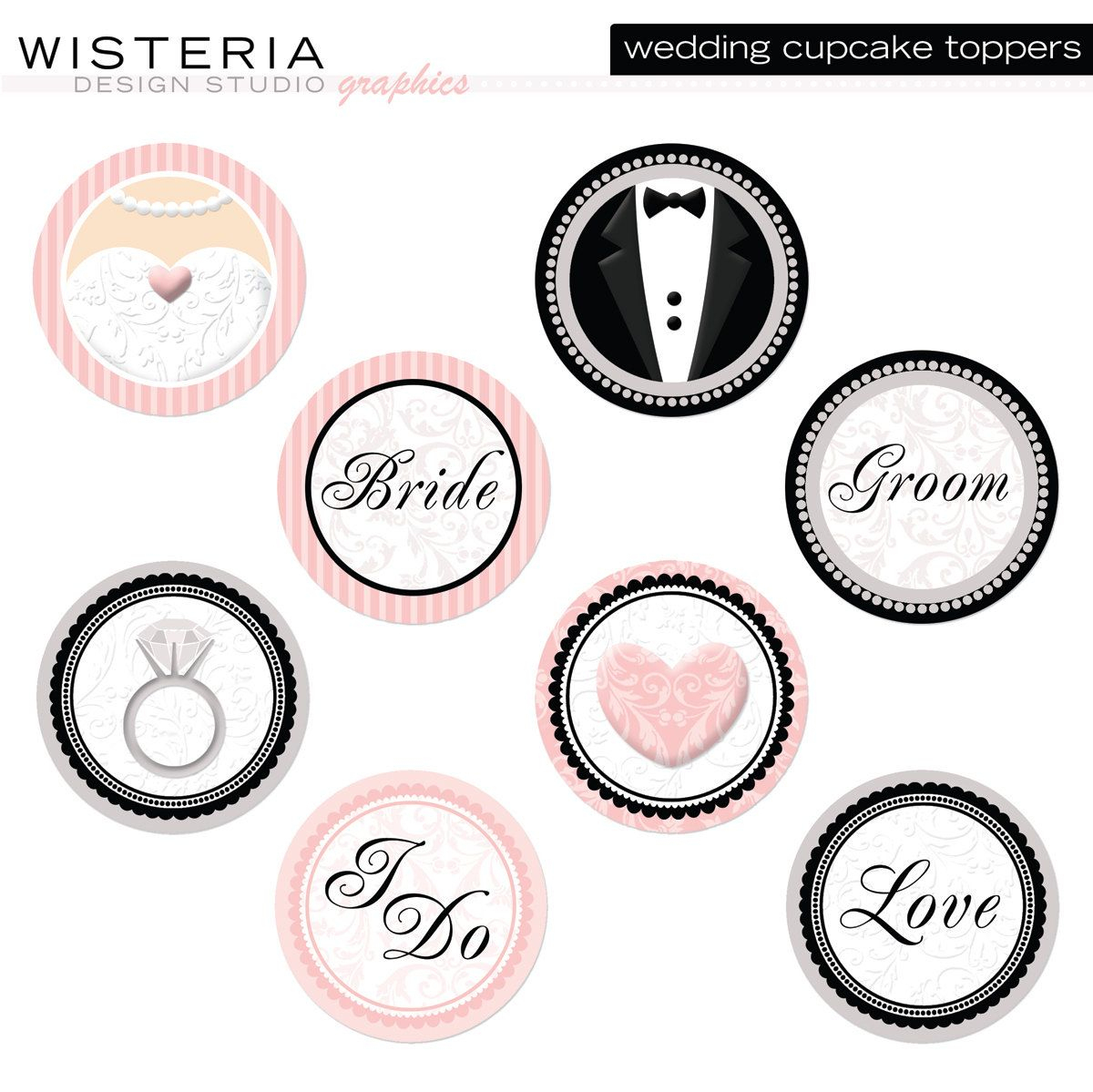 Wedding Cupcake Toppers - Diy Printables - Instant Download - Free Printable Cupcake Toppers Bridal Shower