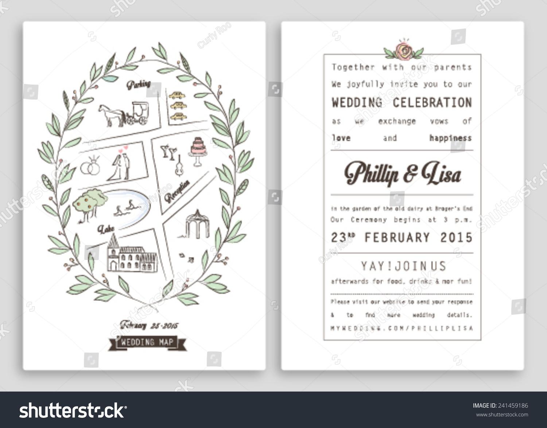 Wedding Invitation Template Map Royal Invitation Stock Vector - Free Printable Wedding Maps