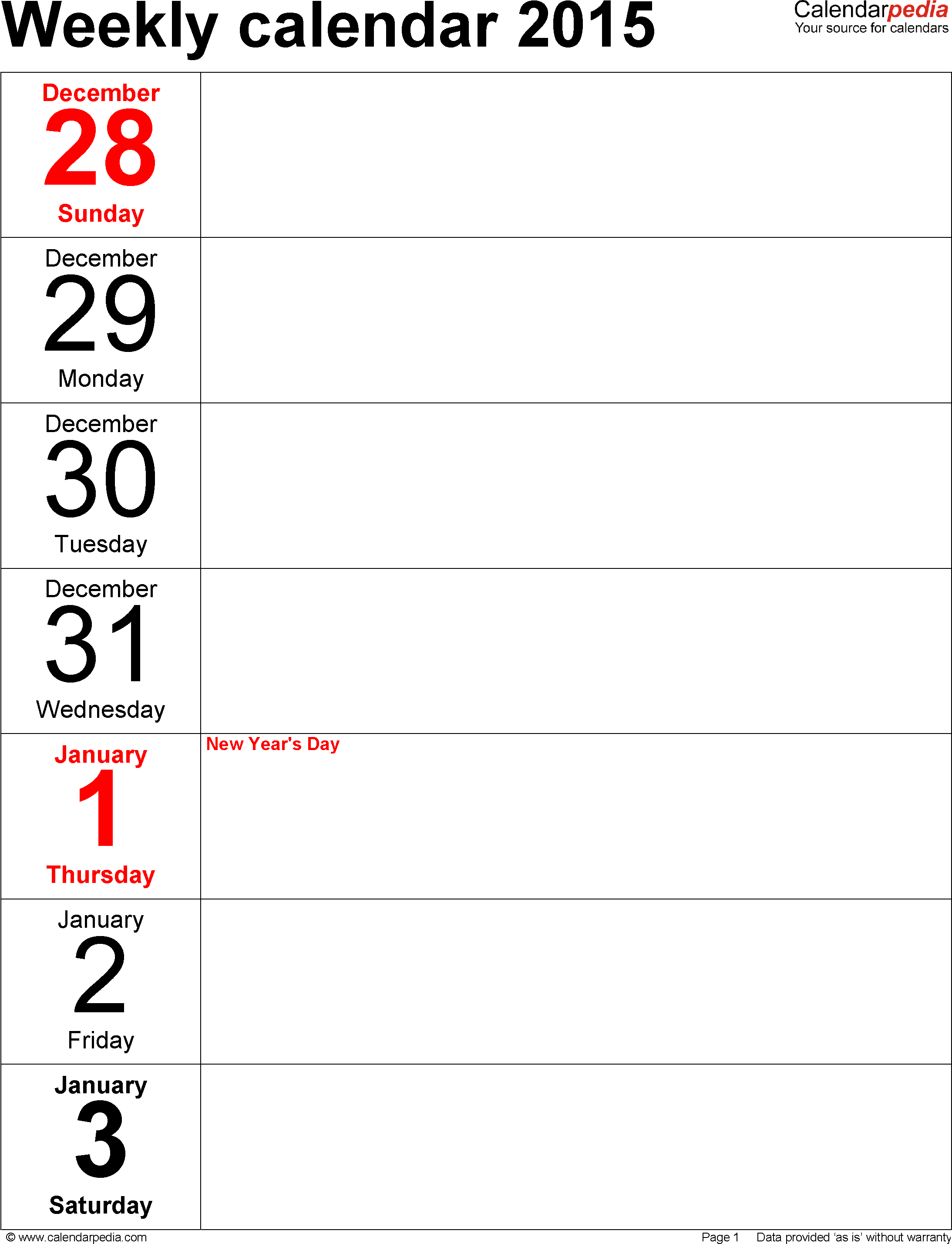 Weekly Calendar 2015 For Pdf - 12 Free Printable Templates - Free Printable Diary 2015