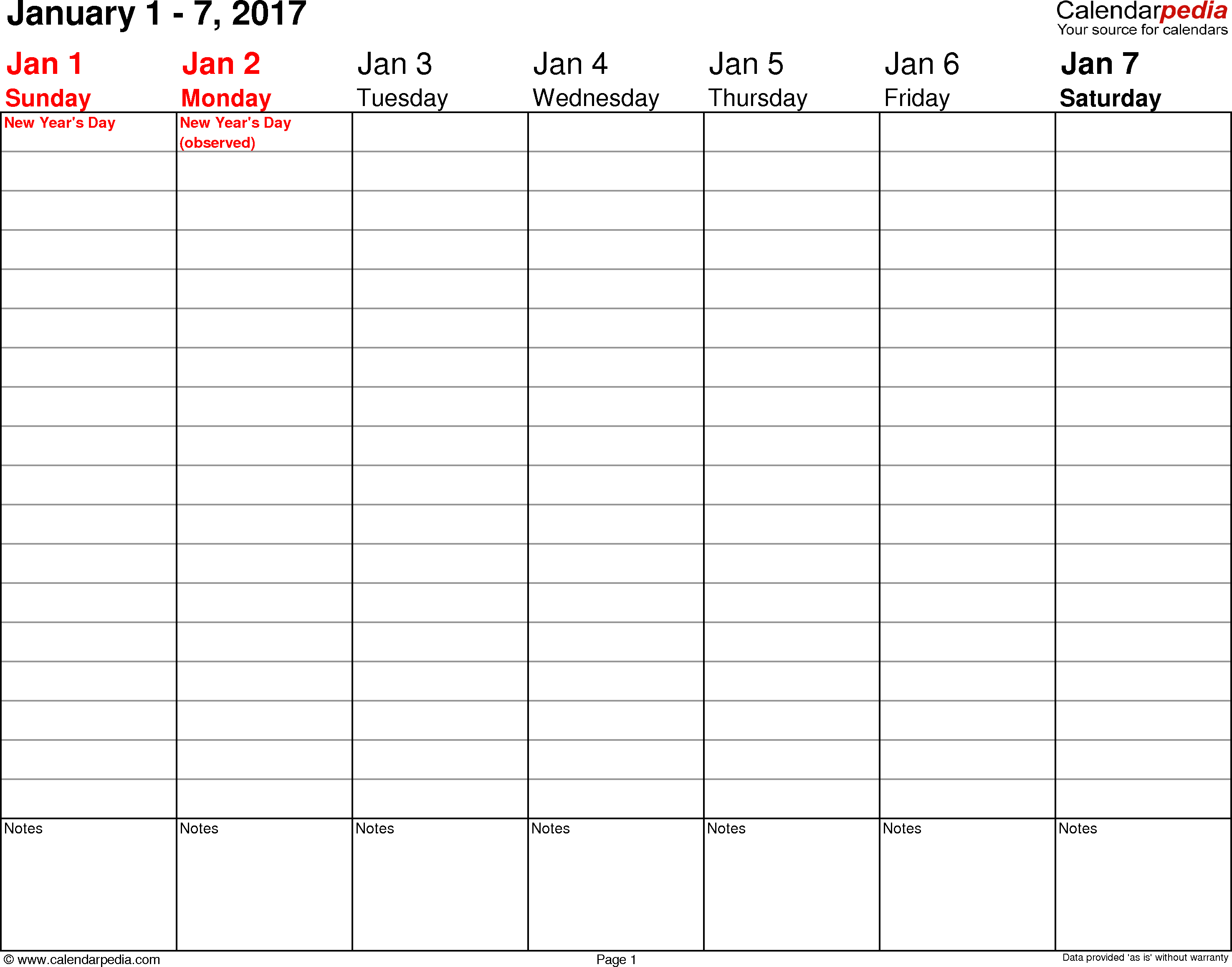 Weekly Calendar 2017 For Word – 12 Free Printable Templates - Free Printable Daily Planner 2017
