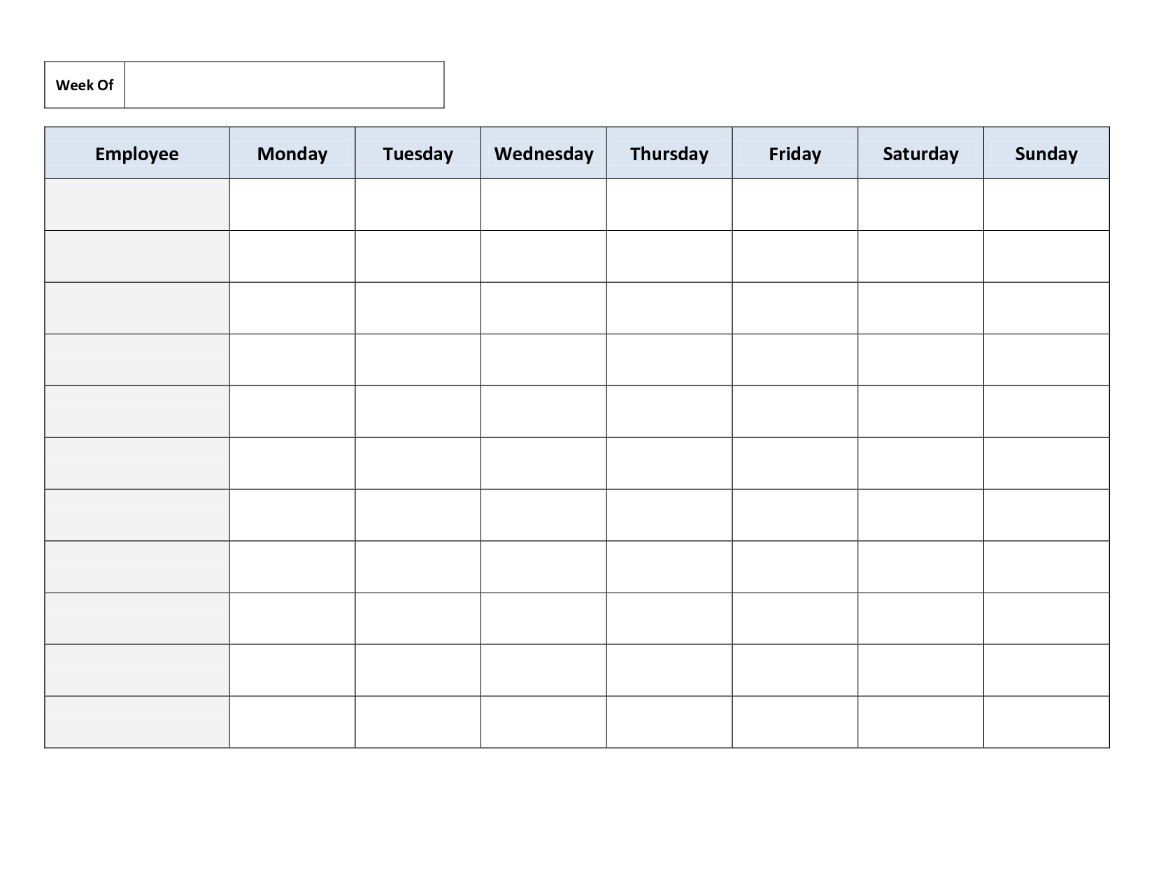 Weekly Employee Work Schedule Template. Free Blank Schedule.pdf - Free Printable Blank Work Schedules