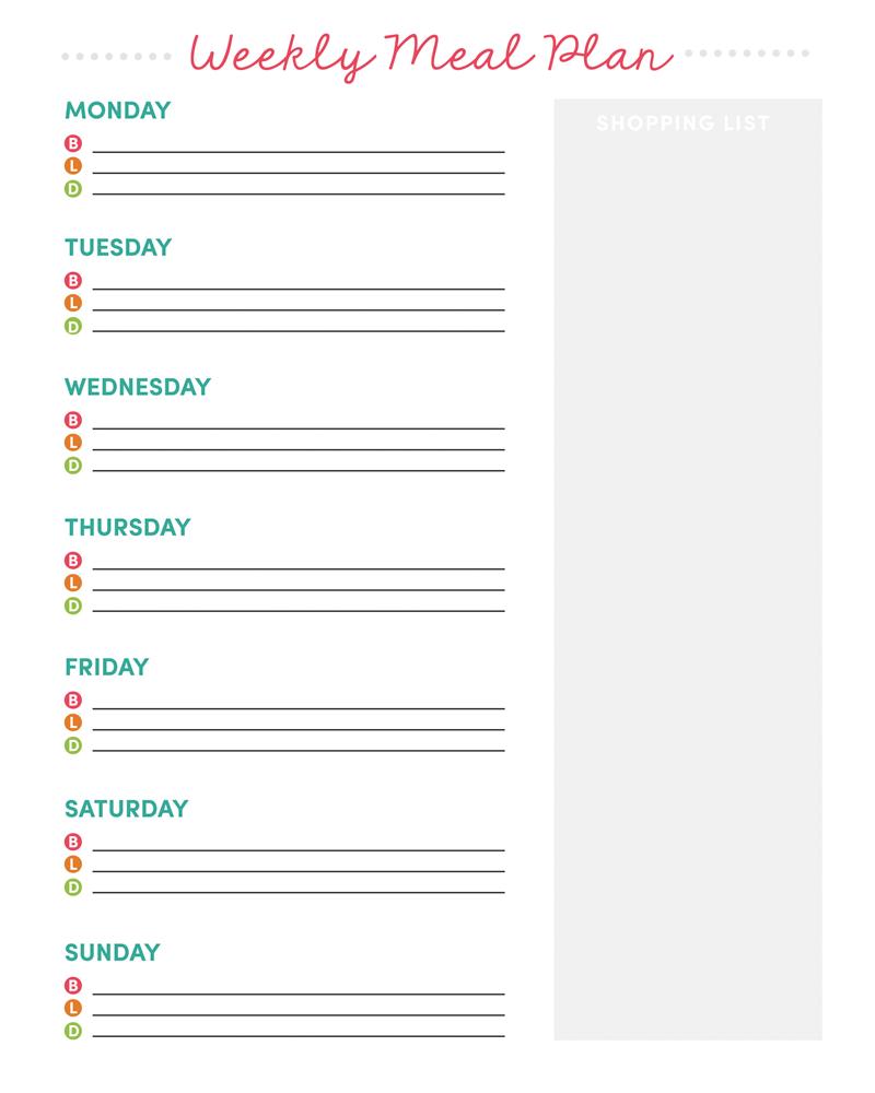 Weekly Meal Planner Printable - Free Printable Weekly Meal Planner