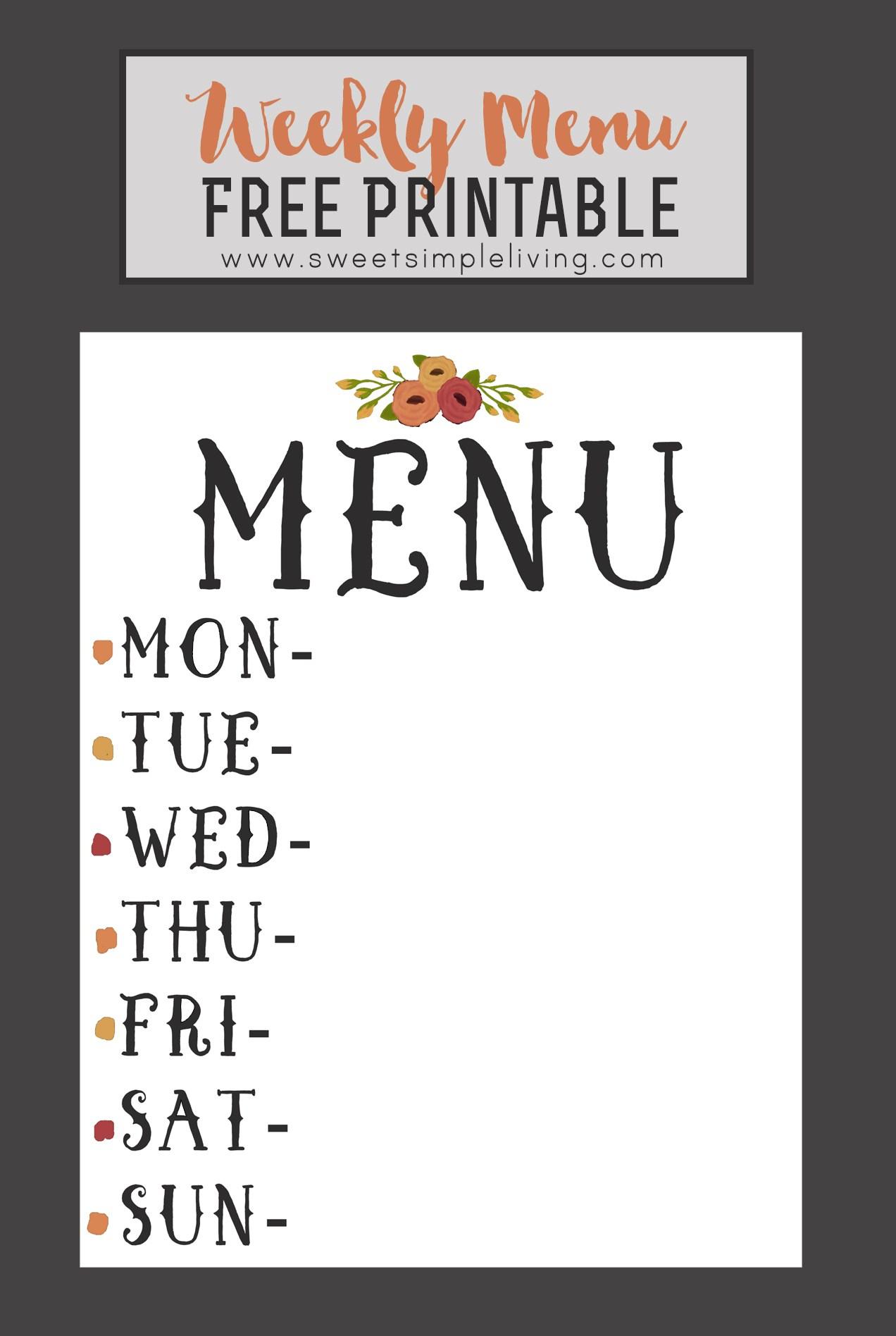 Weekly Menu Free Printable - Sweet Simple Living - Weekly Menu Free Printable