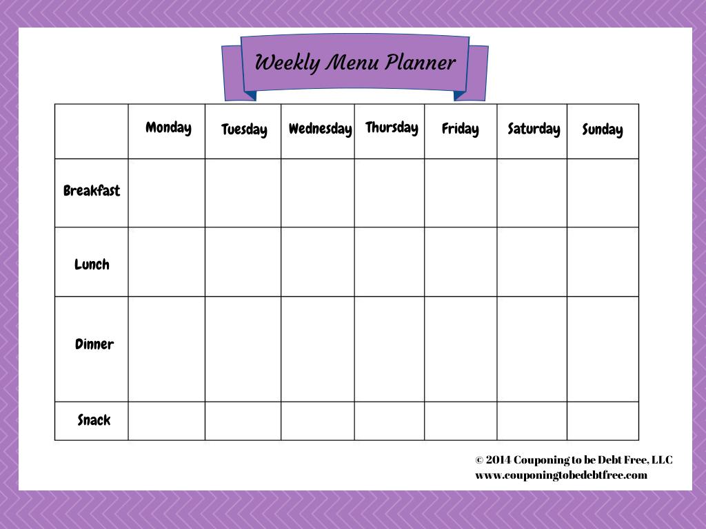 Weekly Menu Planner Printable - Weekly Menu Free Printable