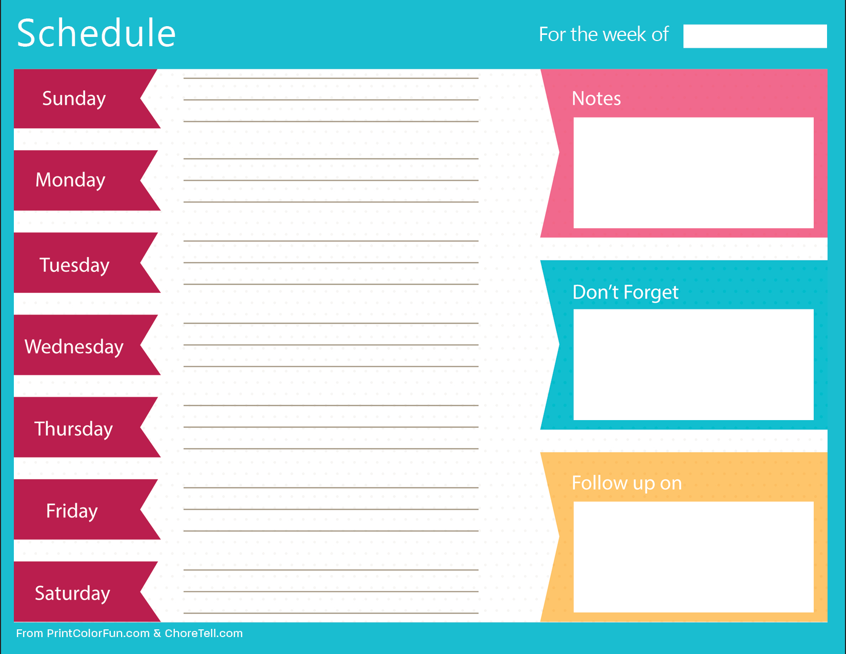 Weekly Schedule Printable Clean Bold Planner Free Template With | Smorad - Free Printable Schedule