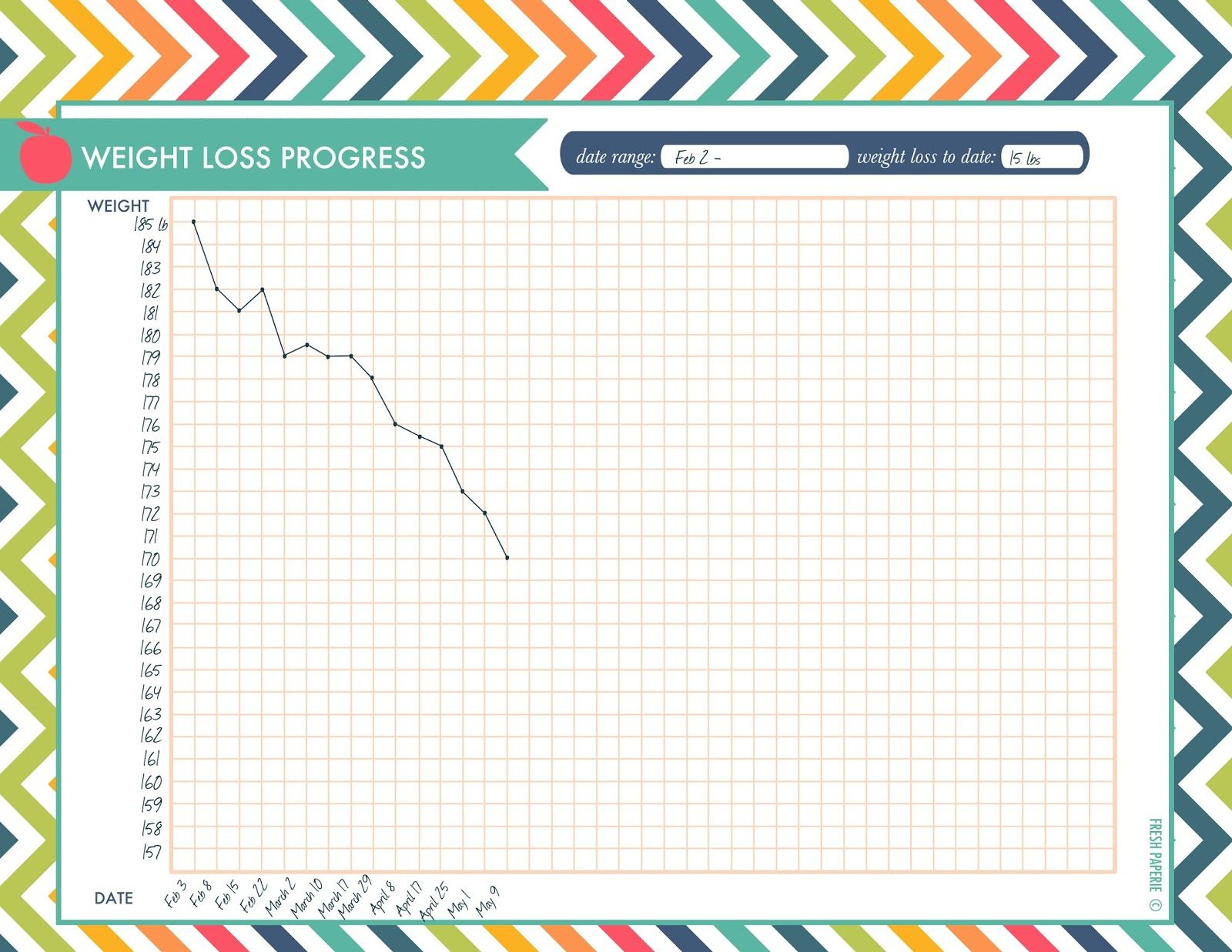 Weight Loss Progress Chart Printable Download   Thanks For Pinning - Free Printable Weight Loss Graph Chart