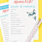 Who Knows Mama Best? A Free Printable Baby Shower Game!   Free Printable Baby Shower Games Who Knows Mommy The Best