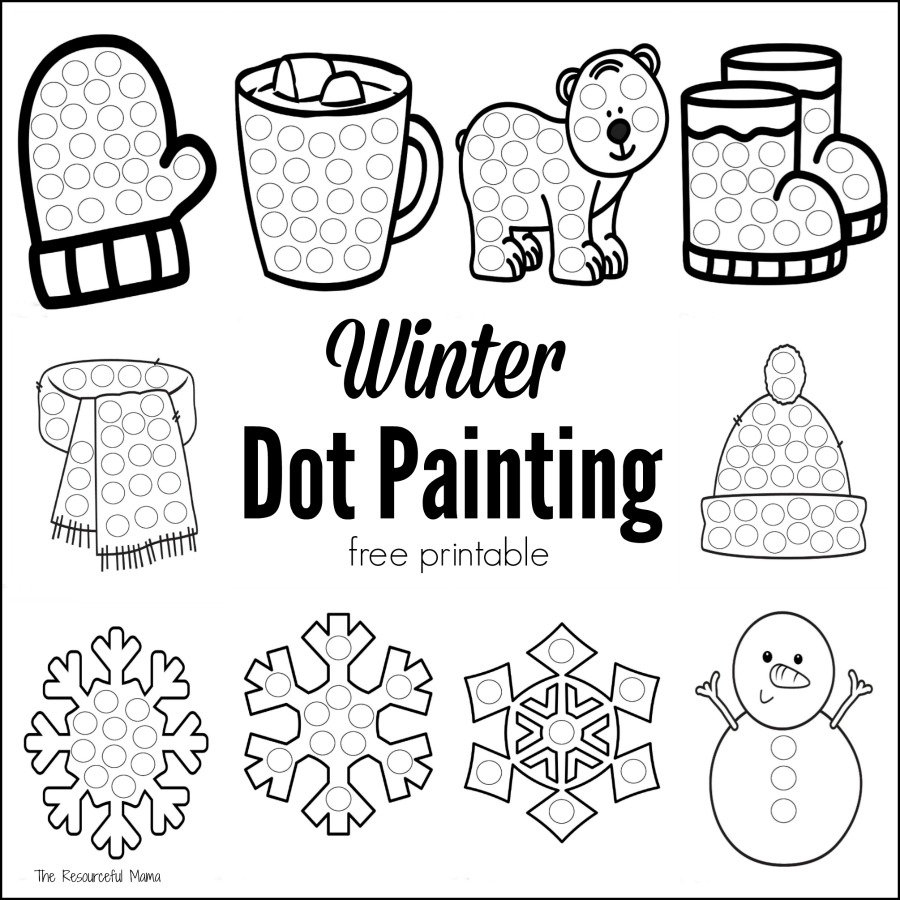 Winter Dot Painting {Free Printable} - The Resourceful Mama - Do A Dot Art Pages Free Printable