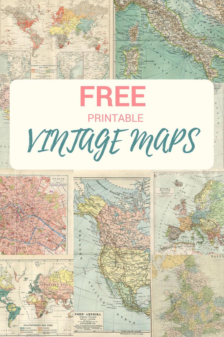 Wonderful Free Printable Vintage Maps To Download - Pillar Box Blue - Free Printable Vintage Pictures