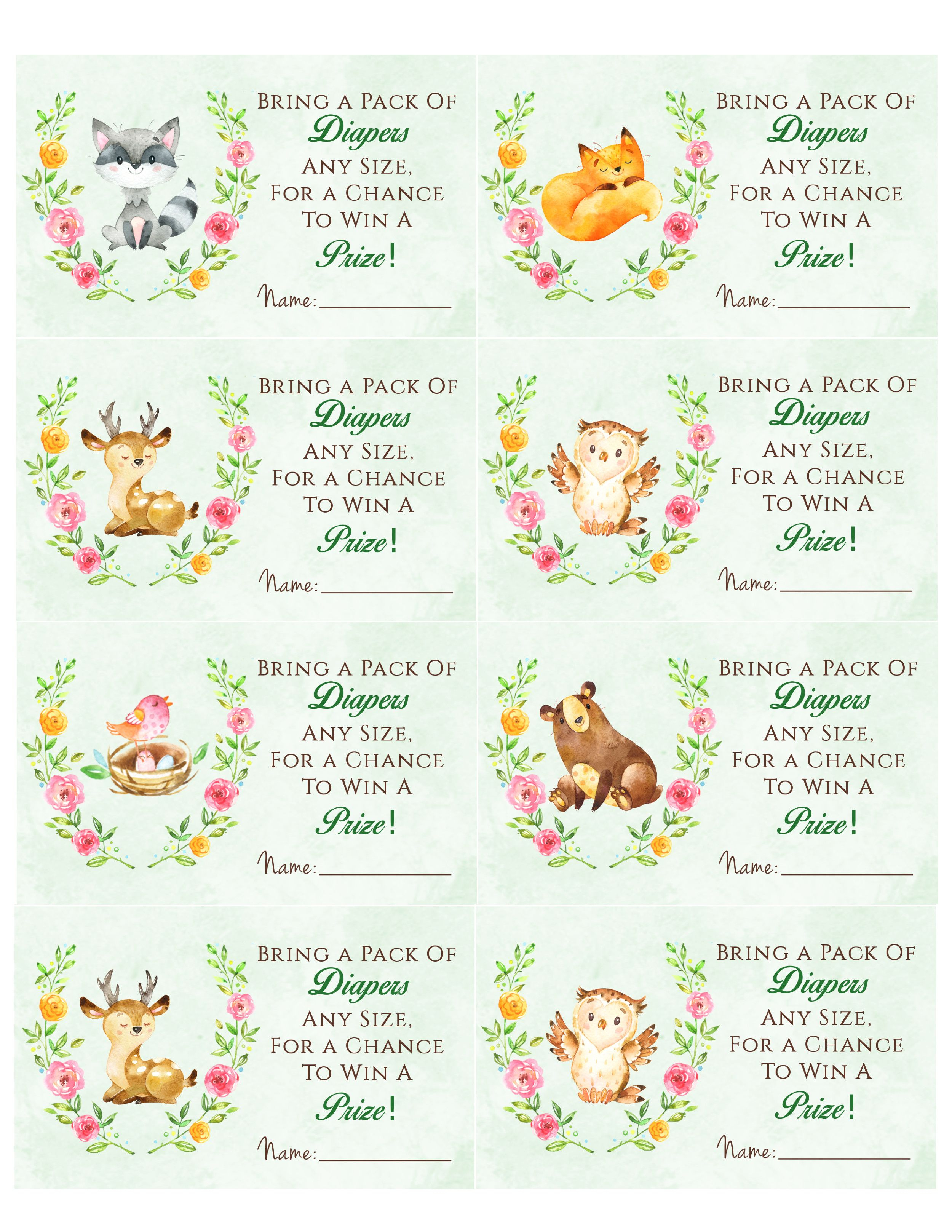 Woodland Animal Baby Shower Diaper Raffle. Free Printable | Birthday - Diaper Raffle Free Printable
