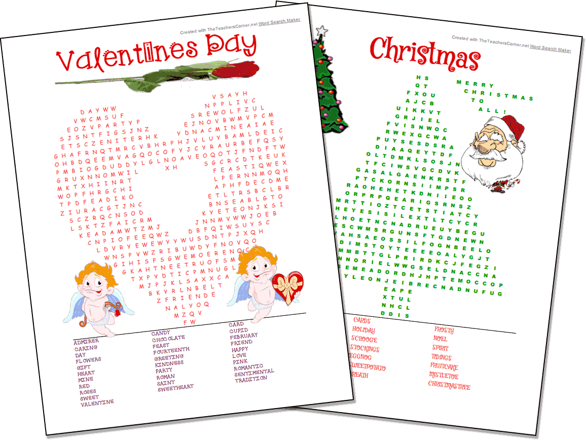 Word Search Maker | World Famous From The Teacher's Corner - Free Printable Christmas Puzzle Games