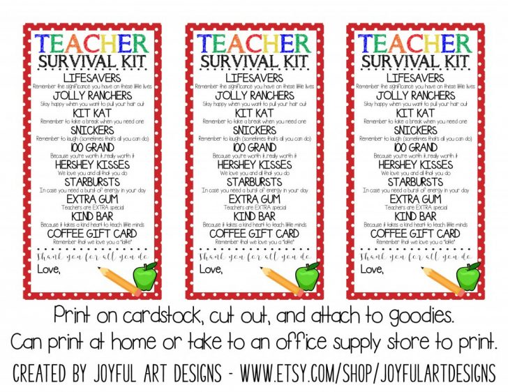 Teacher Survival Kit Free Printable