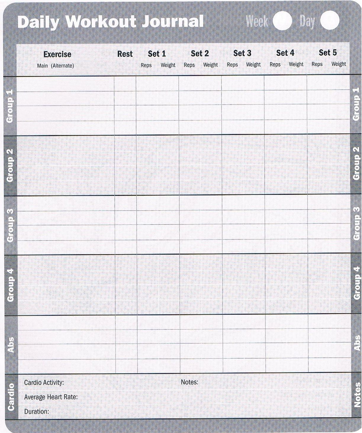 Workout Log: Download These Free Printable Workout Logs To Help You - Free Printable Workout Log Sheets
