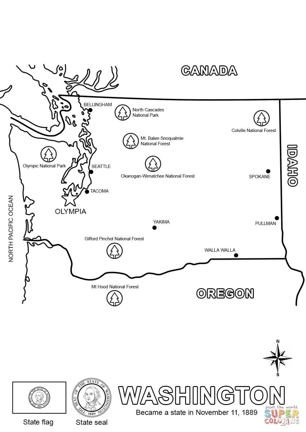 Worksheet : Washington Map Coloring Page George For Kids State Free - Free Printable George Washington Worksheets