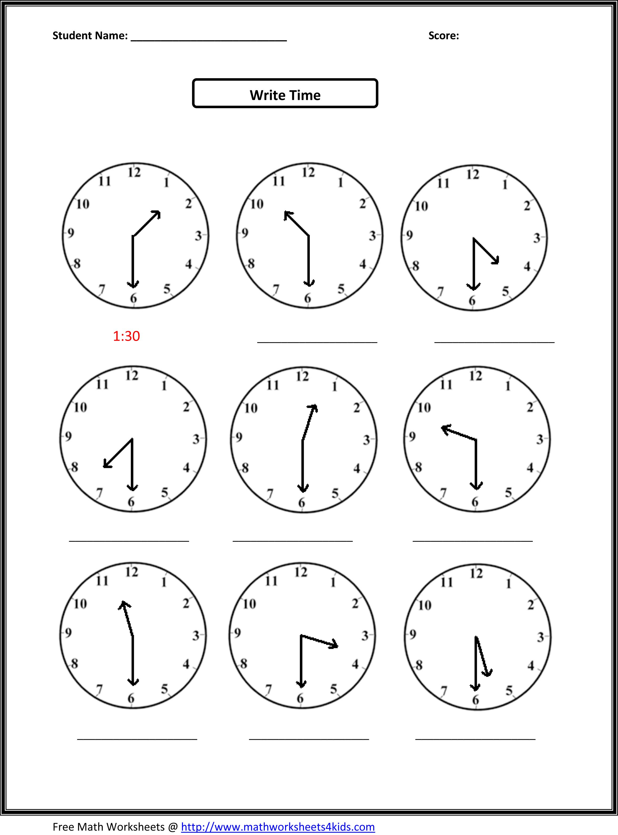 Worksheets For Kids | Go To Top Place Value Worksheets 2Nd Grade - Free Printable Telling Time Worksheets For 1St Grade