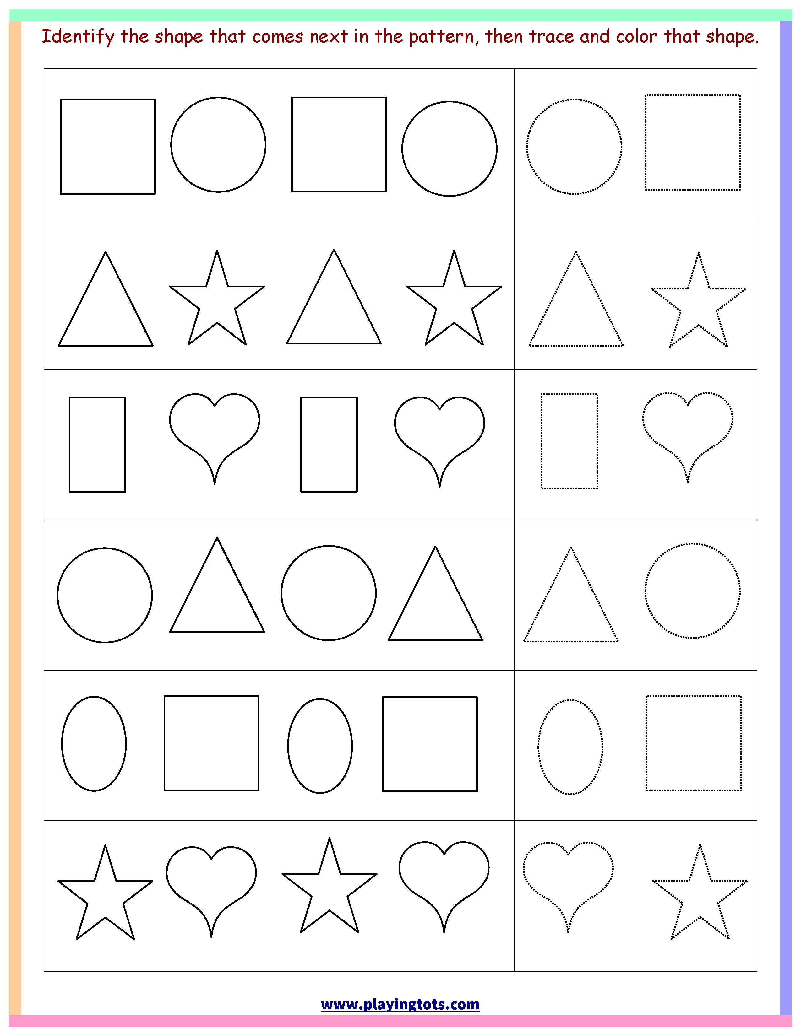 Worksheet,shapes,trace,color,pattern,free,printable,kids,toddler - Free Printable Toddler Worksheets