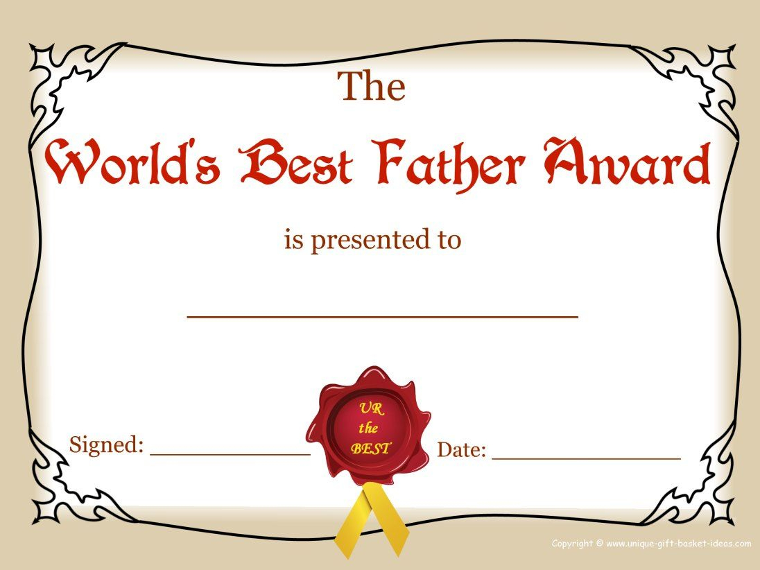 Worlds Greatest Mom And Dad Awards | Free Printable Best Father - Free Printable Best Daughter Certificate