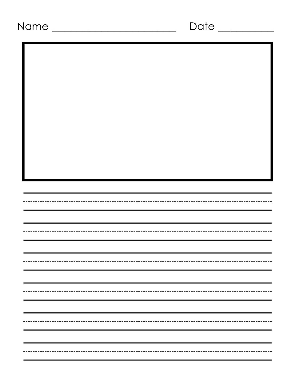 Writing Paper Printable For Children | Notebook Paper Templates - Free Printable Kindergarten Lined Paper Template