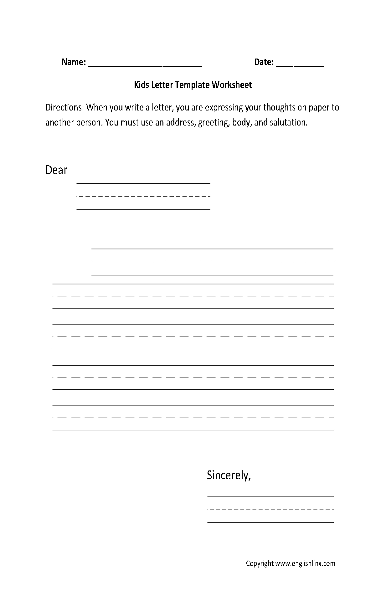 Writing Worksheets | Letter Writing Worksheets - Free Printable Letter Writing Templates