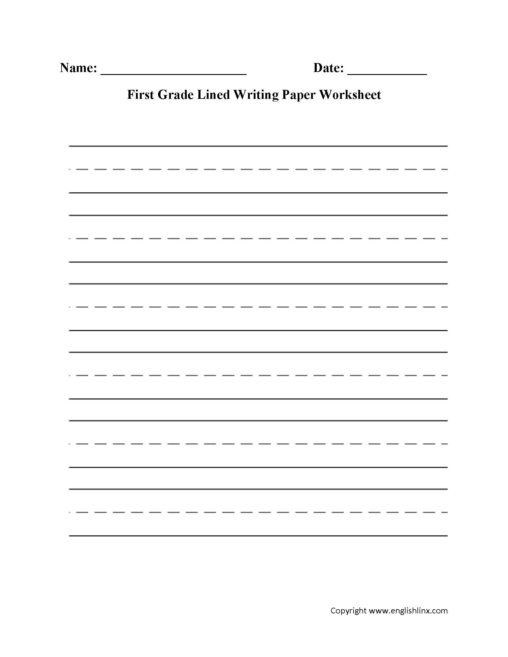 Writing Worksheets | Lined Writing Paper Worksheets - Free Printable Handwriting Paper For First Grade