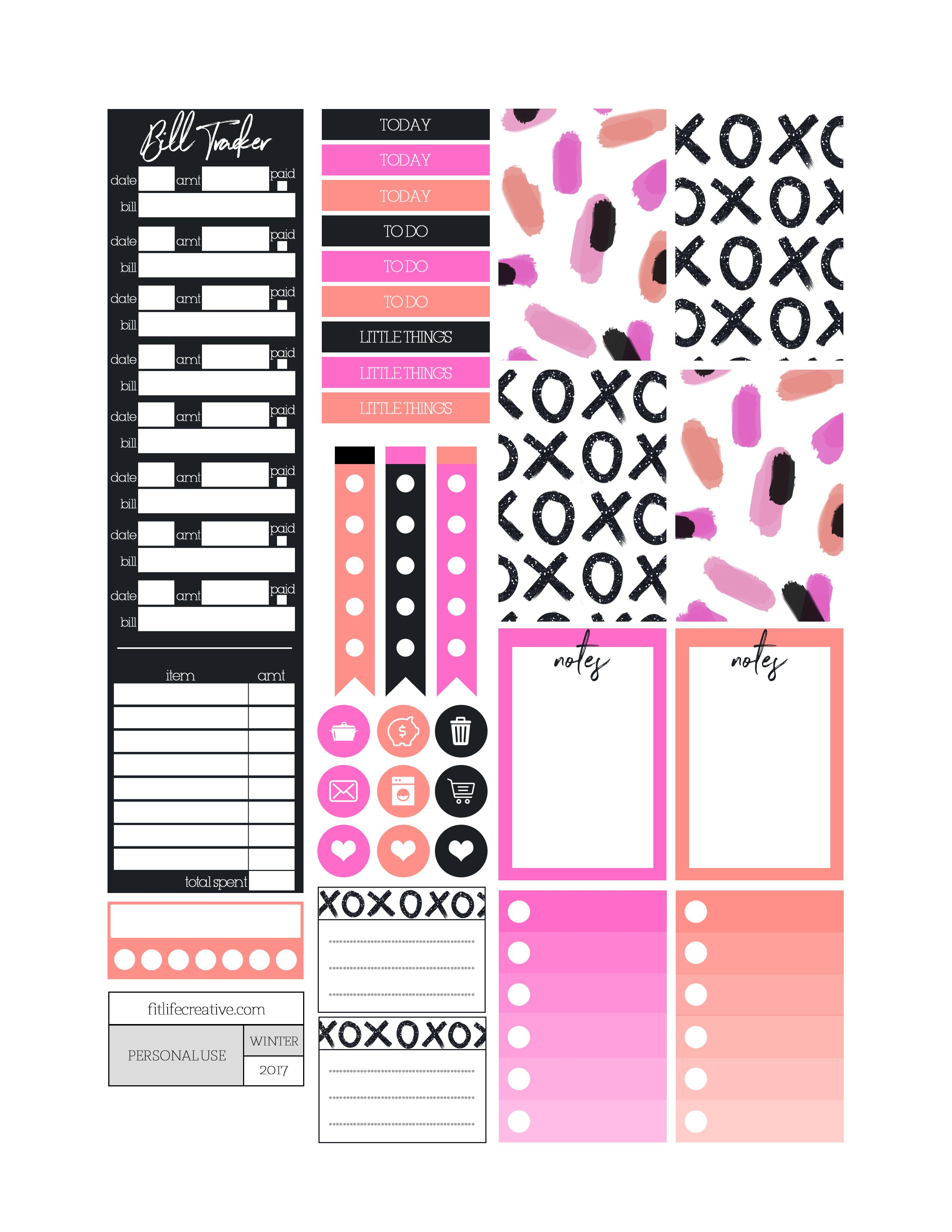 Xoxo Bold Themed Printable Planner Stickers. Includes Free Printable - Free Printable Keyboard Stickers
