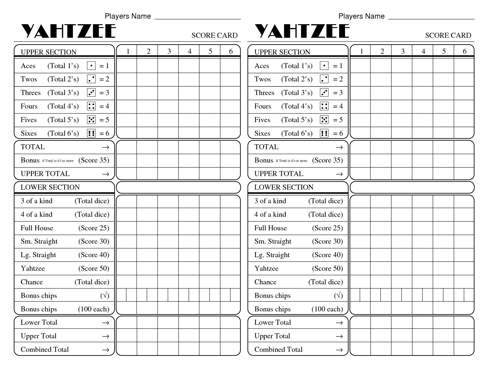 Yatzee Printable Score Sheets | Yahtzee Score Card | All For Fun - Free Printable Yahtzee Score Sheets