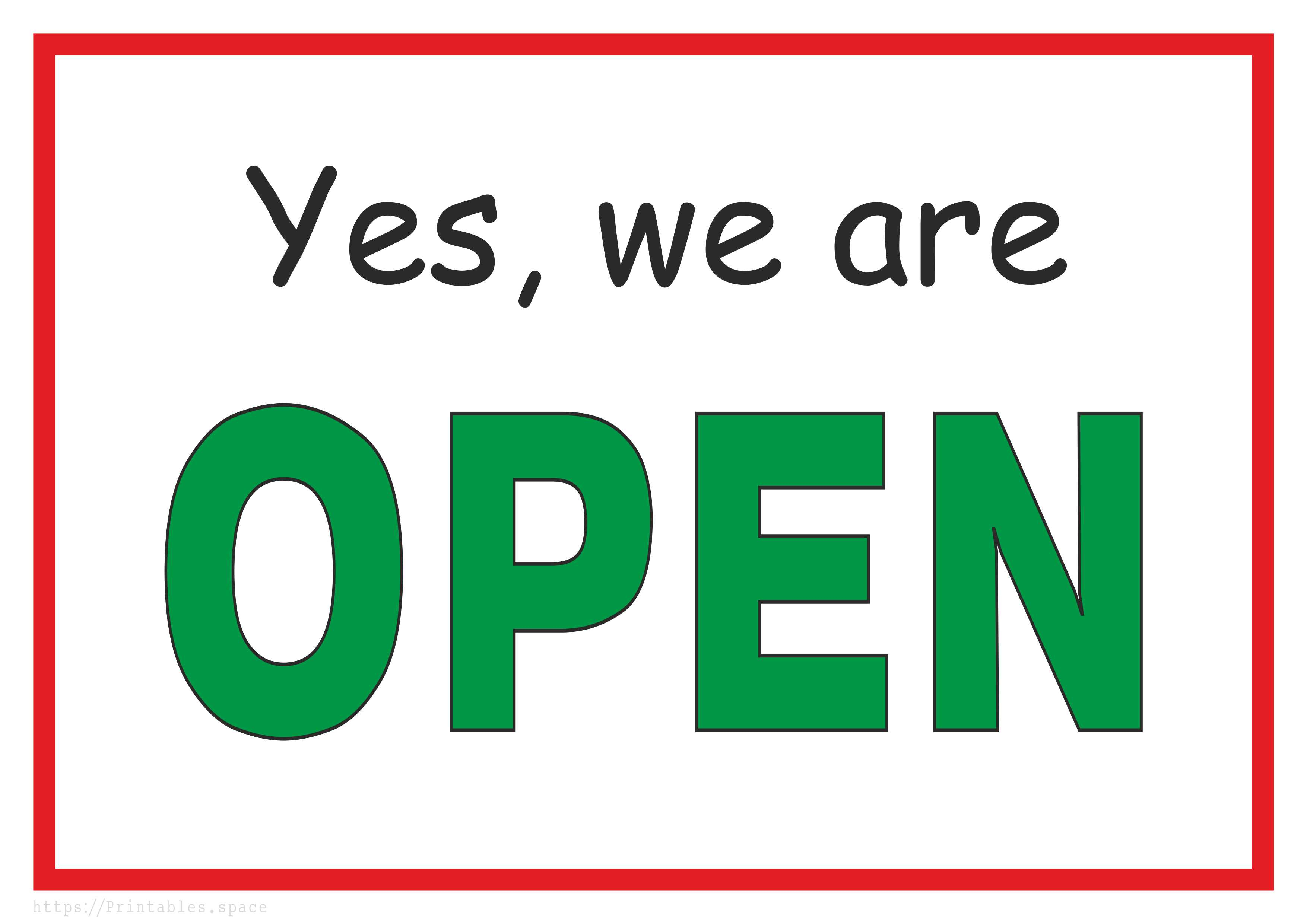 Yes, We Are Open - Free Printable Sign - Free Printables - Free Printable Signs
