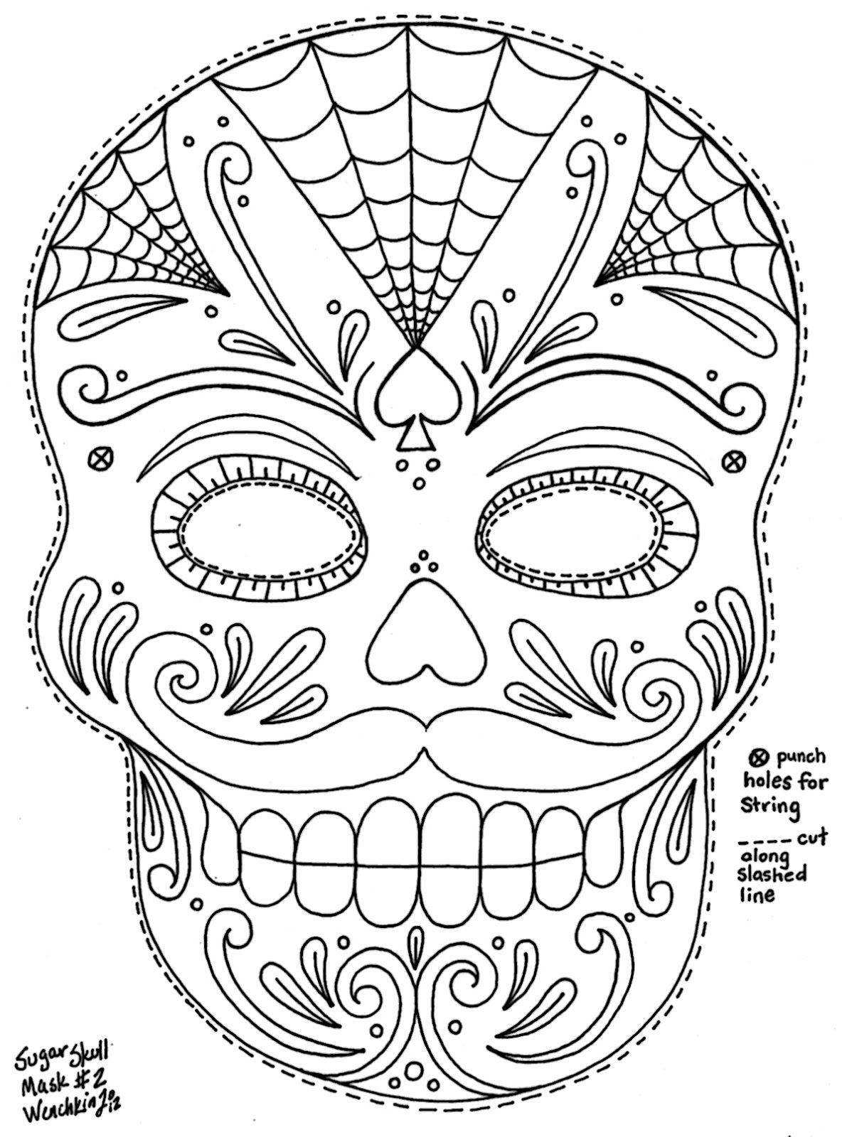 Yucca Flats, N.m.: Wenchkin's Coloring Pages - Moustached Sugar - Free Printable Sugar Skull Day Of The Dead Mask