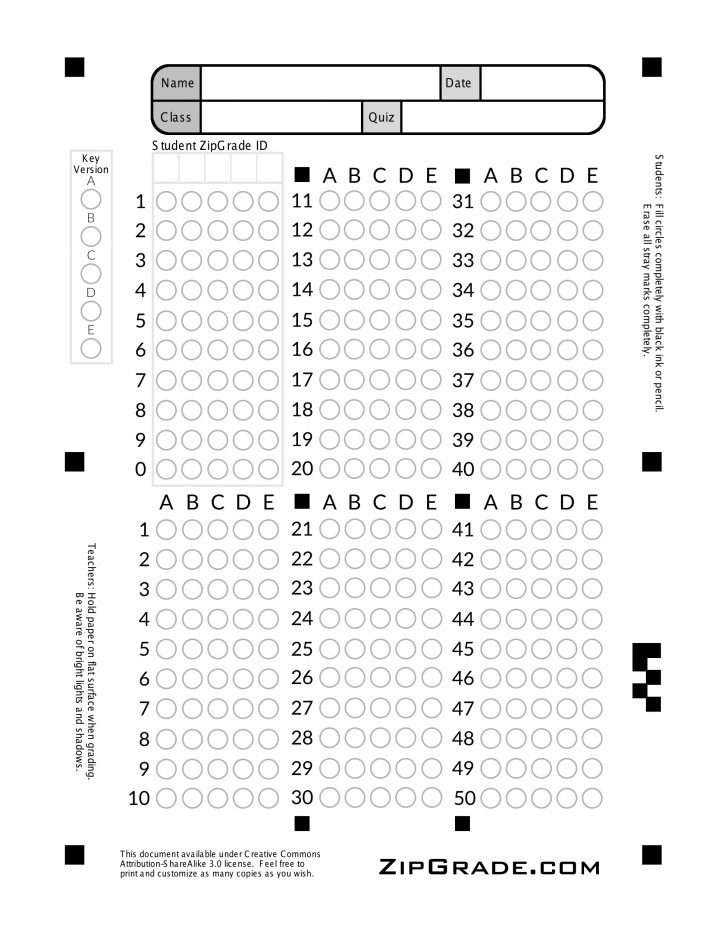 Free Printable Bubble Answer Sheets