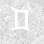 Zodiac Sign Gemini Floral Geometric Doodle Pattern Coloring Page   Free Printable Doodle Patterns