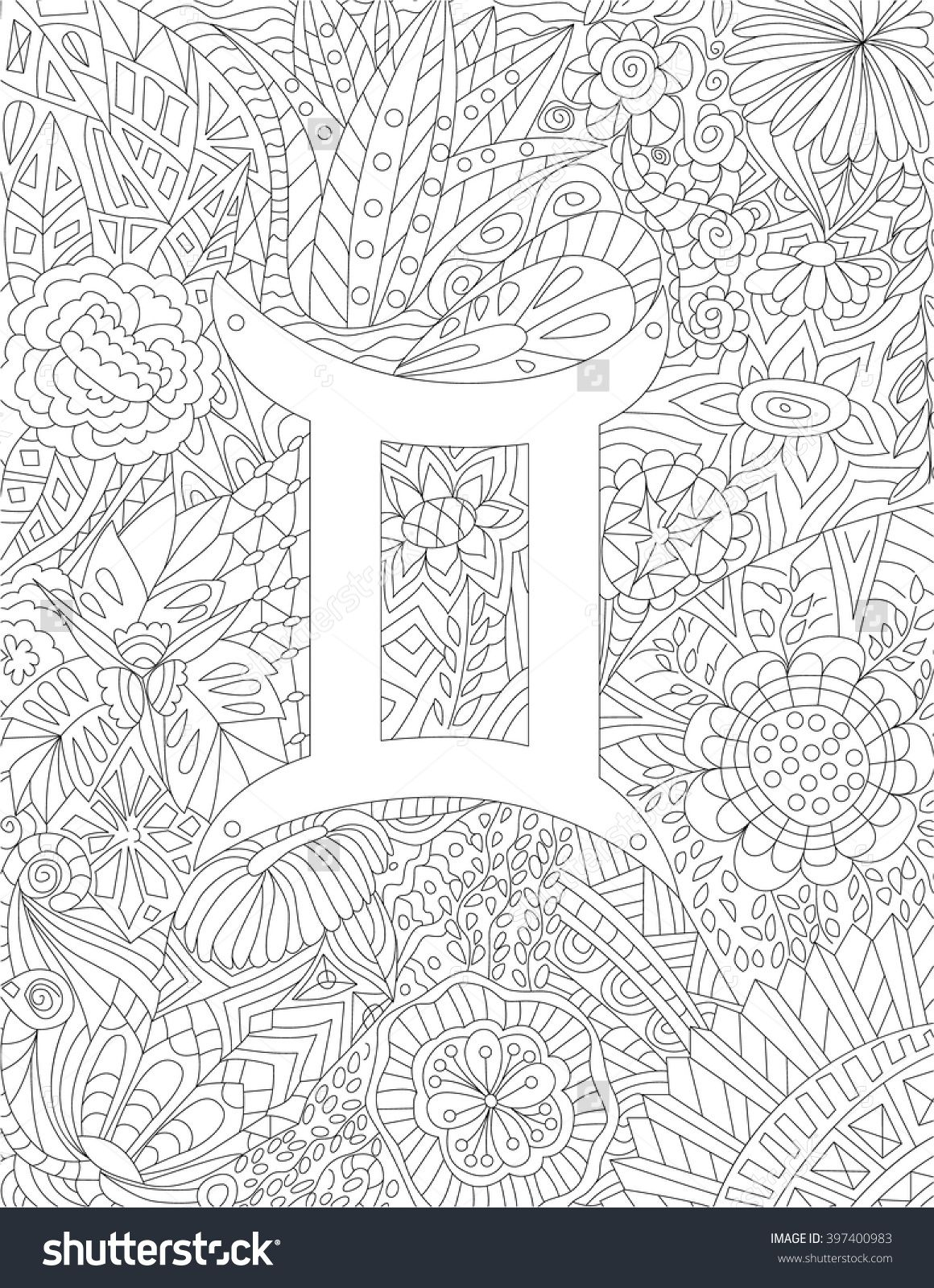 Zodiac Sign Gemini Floral Geometric Doodle Pattern Coloring Page - Free Printable Doodle Patterns